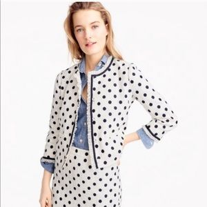 J. Crew White Polka Dot Tweed Jacket